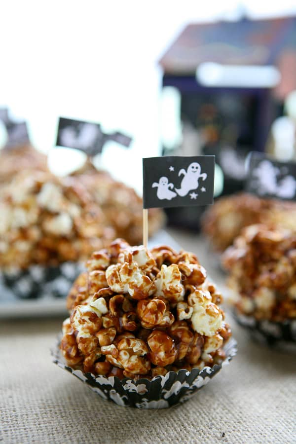 Nutella Popcorn Balls with a ghost flag on fabric surface