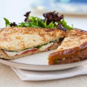 Fried Mozzarella, Basil and Tomato Sandwiches